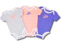 BY178 ベビー ナイキ ロンパース 3枚セット Nike Rompers Baby ベビー服 赤ちゃん 灰インフラレッド紫 【メール便対応】
