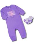 BY188 べビー ナイキ カバーオール&ソックス 2点セット Nike Infant Coverall ベビー服 赤ちゃん 紫 【メール便対応】