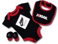 BH863 べビー ジョーダン ロンパース 3点セット Jordan Infant Set スタイ 靴下 ギフトセット 黒赤白【箱付き】