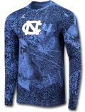 JT069 メンズ ジョーダン NCAA ノースカロライナ大学 ターヒールズ ロングスリーブTシャツ Jordan North Carolina Tar Heels 長袖 水色紺白 【ドライフィット】 【メール便対応】