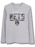 NK429 ジュニア NBA ブルックリン・ネッツ ロングスリーブTシャツ Brooklyn Nets キッズ トップス 長袖 灰黒白 【メール便対応】