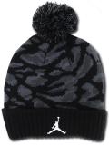 KC718 ジュニア ジョーダン ポンポン ニットキャップ Jordan Pon Beanie キッズ ビーニー 帽子 黒ダークグレー白 【メール便対応】