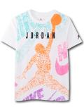LL521 ジュニア ジョーダン Tシャツ Jordan Youth T-Shirt キッズ ユース トップス 白黒ネオンオレンジ 【メール便対応】