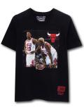 NK432 ジュニア NBA シカゴ・ブルズ ピッペン & ロッドマン Tシャツ Mitchell & Ness Chicago Bulls Rodman Pippen キッズ ミッチェルアンドネス 黒赤 【メール便対応】