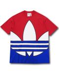 KO455 メンズ アディダス Tシャツ adidas Big Trefoil Colorblock T-Shirt 赤青白 【メール便対応】
