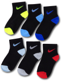 BA629 キッズ 子供用 ナイキ クォーターソックス 6足セット Nike Kids Quarter Socks リトルキッズ 靴下 15-17cm 黒マルチカラー 【メール便対応】