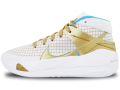 KS769 キッズ/ジュニア Nike KD 13 EYBL ナイキ ケビン・デュラント バスケットシューズ バッシュ 白メタリックゴールド【箱なし】