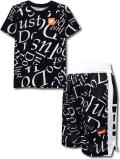 NK359 ジュニア Nike Just Do It. ナイキ Tシャツ&ショーツ セットアップ キッズ バスパン 黒白オレンジ