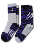 YK528 【メール便対応】 キッズ Jordan Crew Socks ジョーダン クルーソックス 2足セット 灰黒ロイヤルブルー【18-20cm】