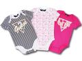BO028 ベビー/ガールズ Guess Rompers Baby ロンパース 3枚セット ベビー服 赤ちゃん 白黒ピンク 【メール便対応】