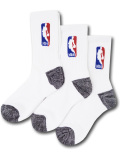 BK310 【メール便対応】 NBA クルーソックス 3足セット Basketball Crew Socks 白【23cm~26.5cm】