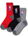 YK596 【メール便対応】 キッズ NBA クルーソックス 3足セット Basketball Crew Socks 赤黒灰【19-22cm】