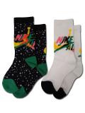 YK612 キッズ ジョーダン Jordan Jumpman Classic II クルーソックス 2足セット 靴下 ソックス Socks 黒白緑18-20cm 【メール便対応】