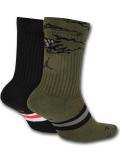 SS032 【メール便対応】 Jordan Legacy Crew Socks ジョーダン クルーソックス 2足セット 黒ミリタリーグリーン