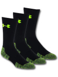 SS085 【メール便対応】 Under Armour Elevated Performance Crew Socks アンダーアーマー クルーソックス 3足セット 黒ネオンイエロー