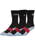 BK347 ジュニア Jordan Crew Socks ジョーダン クルーソックス 3足セット キッズ バスケットボール 靴下 黒白 22cm-25cm 【メール便対応】