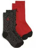 YK598 【メール便対応】 キッズ エアジョーダン Elephant クルーソックス 2足セット Jordan Crew Socks 黒赤【18-20cm】