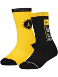 YK600 【メール便対応】 キッズ エアジョーダン 14 クルーソックス 2足セット Jordan Crew Socks 黄色黒【18-20cm】