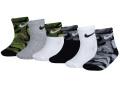 BA575 ベビー Nike Socks ナイキ ソックス 6足セット ベビー服 赤ちゃん 靴下 黒白カモフラージュ 【メール便対応】