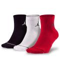 KJ012 【メール便対応】 Jordan Jumpman 3 Pack Quarter Socks ジョーダン ドライフィット クォーターソックス 3足セット 黒白赤