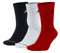 BK861 【メール便対応】 Jordan Jumpman 3 Pack Crew Socks ジョーダン クルーソックス 3足セット 黒白赤【ドライフィット】 Mサイズ
