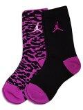 YK651 キッズ Jordan Elephant Crew Socks ジョーダン クルーソックス 2足セット  靴下 ホットピンク黒 【20cm~23cm】 【メール便対応】