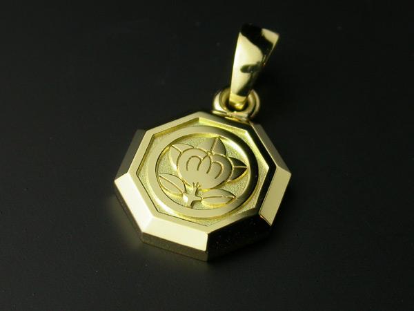家紋ペンダント・八角・小・K18金ゴールド・竹コース