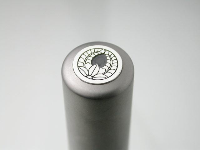 家紋入りチタン印鑑(個人実印・16.5mm)シルバーエンブレム