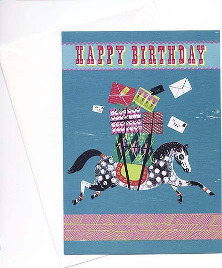 ロンドンのバースデーカード<馬とプレゼント>
