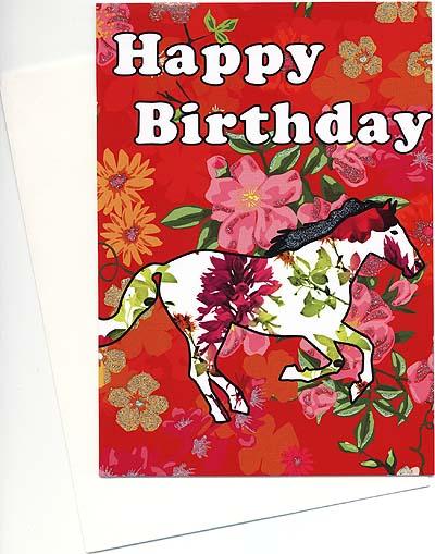 ロンドンのバースデーカード<馬と花>