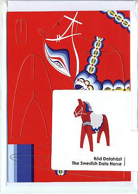 ダーラナホースの組立グリーティングカード 封筒付き