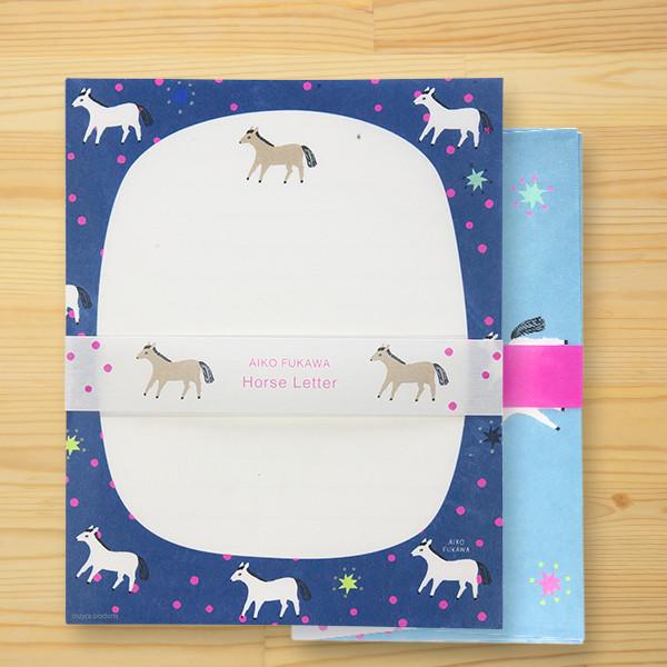 布川愛子(Aiko Fukawa)美濃和紙レターセット「Horse Letter」