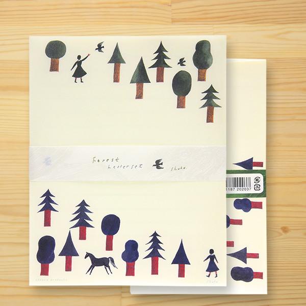西淑(nishi shuku) 美濃和紙レターセット「Forest」