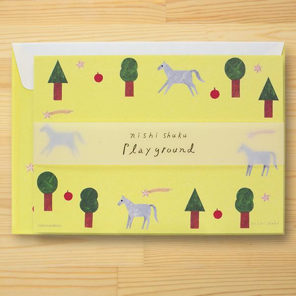 西淑(nishi shuku) 美濃和紙ミニレターセット「Playground」