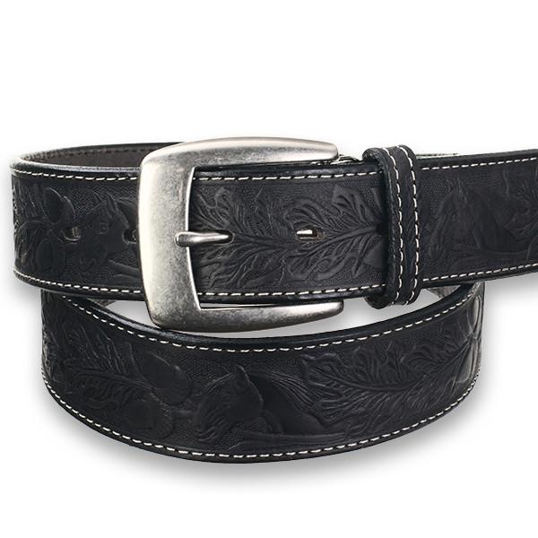 馬柄 メンズ カジュアル牛革ベルト 黒