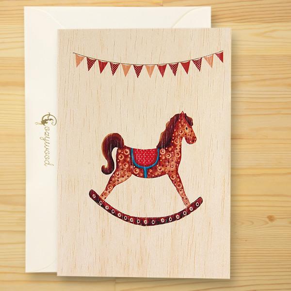 メッセージが書ける輸入天然木カード「Little Horse」