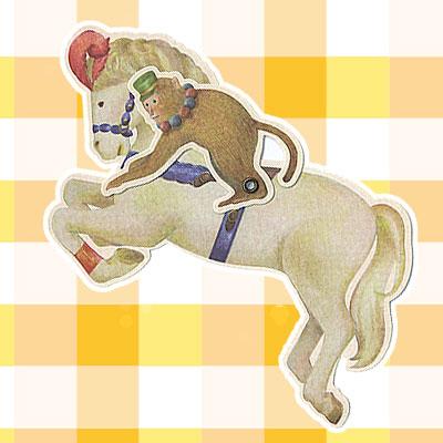 サーカスの馬&おさるさんジョッキーのカード 2
