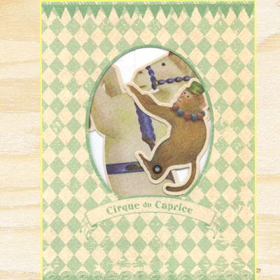 サーカスの馬&おさるさんジョッキーのカード 4