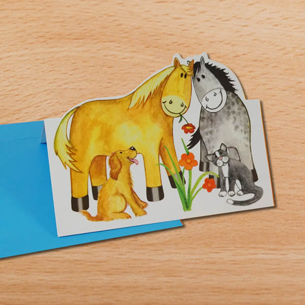 PONY PALS 可愛い馬のポップアップカード