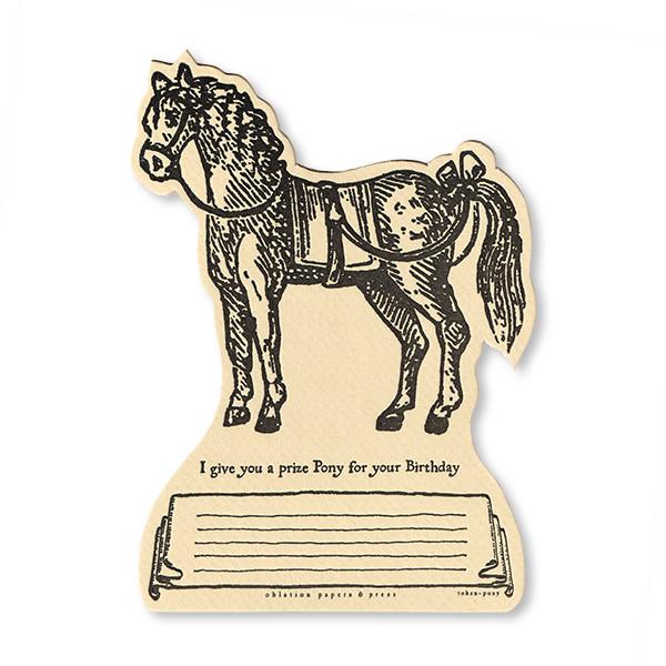 活版印刷ダイカットカード tokens 馬 バースデー