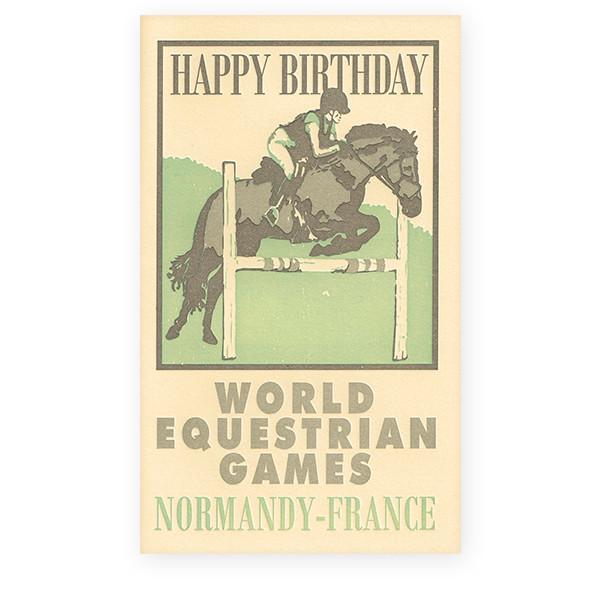 活版印刷カード vintage poster cards バースデー 乗馬
