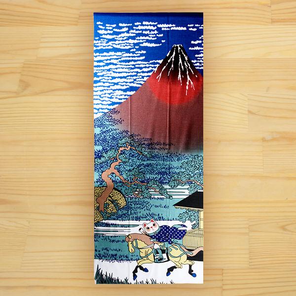 馬と猫の和柄手ぬぐい 「福まねき猫<赤富士>」