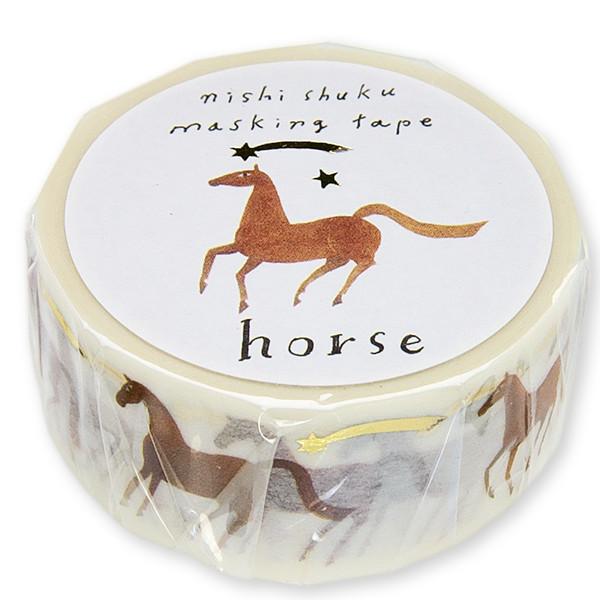 西淑(nishi shuku)マスキングテープ「Horse」(金箔入り)