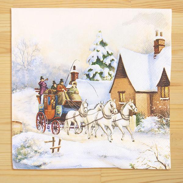 輸入馬柄ペーパーナプキン「クリスマス」