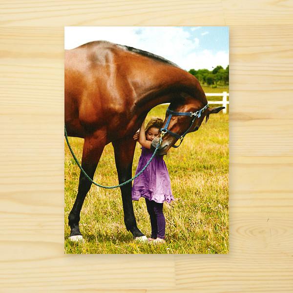 「馬と女の子」多機能グリーティングカード
