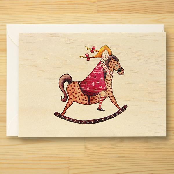 メッセージが書ける輸入天然木カード「Rocking Horse」