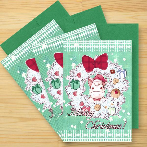 《3枚セット》ホース・ファクトリー クリスマスカード(シール付き)