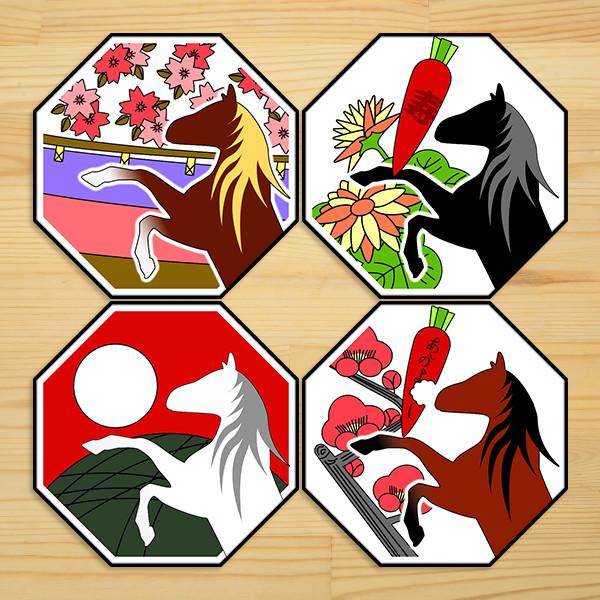 花札風 オリジナル和柄馬ステッカー 4枚組