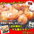 【送料無料】でか盛り☆牛丸腸ホルモン500g×2袋 焼肉・モツ鍋にどうぞ 父の日 BBQ バーベキュー