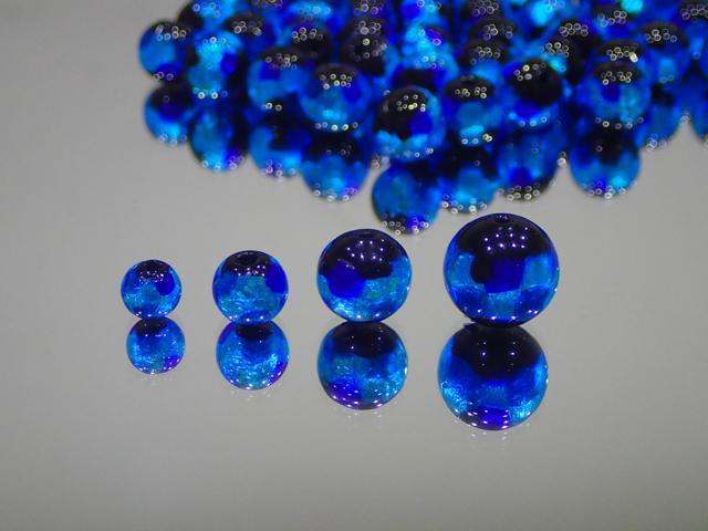 丸玉 黒・ブルー 10mm玉 最安値 1個 155円~ 夜光ホタルガラス【ネコポス便可】